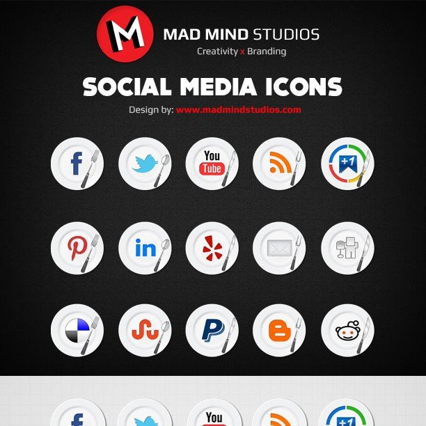 30 Food Social Media Icons for Restaurant Websites